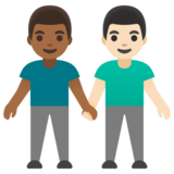 Men Holding Hands: Medium-Dark Skin Tone, Light Skin Tone on Google Android 11.0