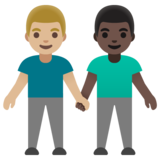 Men Holding Hands: Medium-Light Skin Tone, Dark Skin Tone on Google Android 11.0