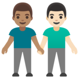 Men Holding Hands: Medium Skin Tone, Light Skin Tone on Google Android 11.0