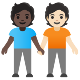 People Holding Hands: Dark Skin Tone, Light Skin Tone on Google Android 11.0