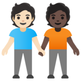 People Holding Hands: Light Skin Tone, Dark Skin Tone on Google Android 11.0