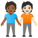 People Holding Hands: Medium-Dark Skin Tone, Light Skin Tone on Google Android 11.0