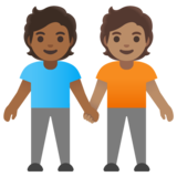 People Holding Hands: Medium-Dark Skin Tone, Medium Skin Tone on Google Android 11.0