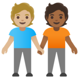 People Holding Hands: Medium-Light Skin Tone, Medium-Dark Skin Tone on Google Android 11.0