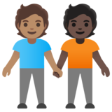 People Holding Hands: Medium Skin Tone, Dark Skin Tone on Google Android 11.0