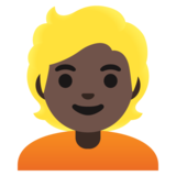 Person: Dark Skin Tone, Blond Hair on Google Android 11.0