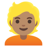 Person: Medium Skin Tone, Blond Hair on Google Android 11.0