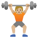 Person Lifting Weights: Medium-Light Skin Tone on Google Android 11.0
