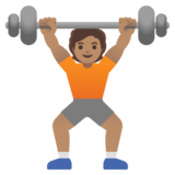 Person Lifting Weights: Medium Skin Tone on Google Android 11.0