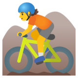 Person Mountain Biking on Google Android 11.0