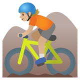 Person Mountain Biking: Medium-Light Skin Tone on Google Android 11.0