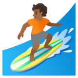 Person Surfing: Medium-Dark Skin Tone on Google Android 11.0