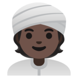 Person Wearing Turban: Dark Skin Tone on Google Android 11.0
