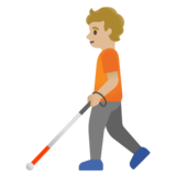 Person with White Cane: Medium-Light Skin Tone on Google Android 11.0
