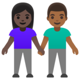 Woman and Man Holding Hands: Dark Skin Tone, Medium-Dark Skin Tone on Google Android 11.0