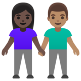 Woman and Man Holding Hands: Dark Skin Tone, Medium Skin Tone on Google Android 11.0