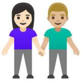 Woman and Man Holding Hands: Light Skin Tone, Medium-Light Skin Tone on Google Android 11.0