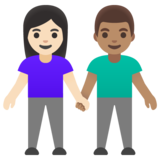 Woman and Man Holding Hands: Light Skin Tone, Medium Skin Tone on Google Android 11.0