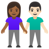 Woman and Man Holding Hands: Medium-Dark Skin Tone, Light Skin Tone on Google Android 11.0