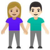 Woman and Man Holding Hands: Medium-Light Skin Tone, Light Skin Tone on Google Android 11.0