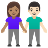 Woman and Man Holding Hands: Medium Skin Tone, Light Skin Tone on Google Android 11.0