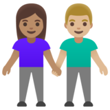Woman and Man Holding Hands: Medium Skin Tone, Medium-Light Skin Tone on Google Android 11.0