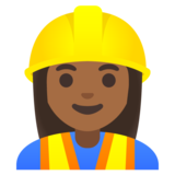 Woman Construction Worker: Medium-Dark Skin Tone on Google Android 11.0