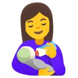 Woman Feeding Baby on Google Android 11.0