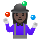 Woman Juggling: Dark Skin Tone on Google Android 11.0