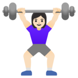 Woman Lifting Weights: Light Skin Tone on Google Android 11.0