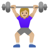 Woman Lifting Weights: Medium-Light Skin Tone on Google Android 11.0