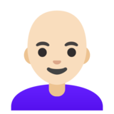 Woman: Light Skin Tone, Bald on Google Android 11.0