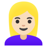 Woman: Light Skin Tone, Blond Hair on Google Android 11.0