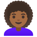 Woman: Medium-Dark Skin Tone, Curly Hair on Google Android 11.0
