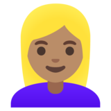 Woman: Medium Skin Tone, Blond Hair on Google Android 11.0