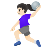 Woman Playing Handball: Light Skin Tone on Google Android 11.0
