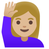 Woman Raising Hand: Medium-Light Skin Tone on Google Android 11.0