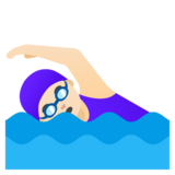 Woman Swimming: Light Skin Tone on Google Android 11.0