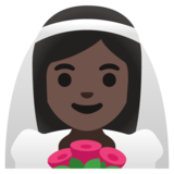 Woman with Veil: Dark Skin Tone on Google Android 11.0