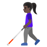 Woman with White Cane: Dark Skin Tone on Google Android 11.0