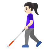 Woman with White Cane: Light Skin Tone on Google Android 11.0