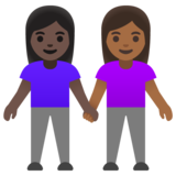 Women Holding Hands: Dark Skin Tone, Medium-Dark Skin Tone on Google Android 11.0