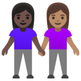 Women Holding Hands: Dark Skin Tone, Medium Skin Tone on Google Android 11.0