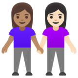 Women Holding Hands: Medium Skin Tone, Light Skin Tone on Google Android 11.0