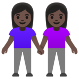 Women Holding Hands: Dark Skin Tone on Google Android 11.0