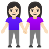 Women Holding Hands: Light Skin Tone on Google Android 11.0