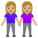 Women Holding Hands: Medium-Light Skin Tone on Google Android 11.0