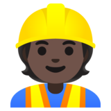 Construction Worker: Dark Skin Tone on Google Android 11.0 December 2020 Feature Drop