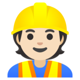 Construction Worker: Light Skin Tone on Google Android 11.0 December 2020 Feature Drop