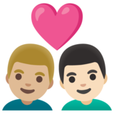 Couple with Heart: Man, Man, Medium-Light Skin Tone, Light Skin Tone on Google Android 11.0 December 2020 Feature Drop